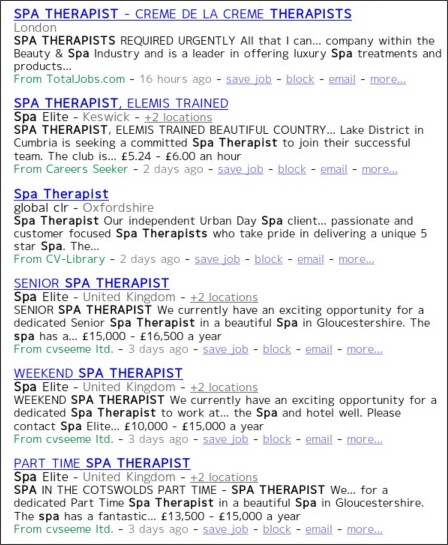 http://www.indeed.co.uk/Spa-Therapist-jobs