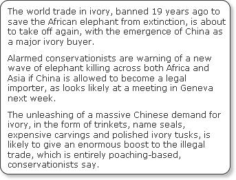 http://www.independent.co.uk/environment/nature/return-of-the-ivory-trade-865797.html