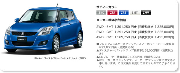 http://www.suzuki.co.jp/car/swift_rs/price/index.html