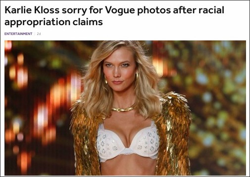 http://www.bbc.co.uk/newsbeat/article/38982919/karlie-kloss-sorry-for-vogue-photos-after-racial-appropriation-claims