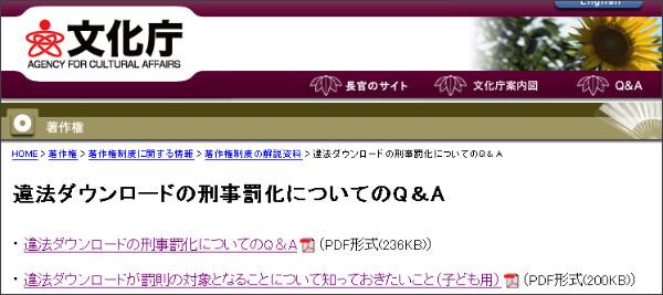 http://www.bunka.go.jp/chosakuken/download_qa/index.html