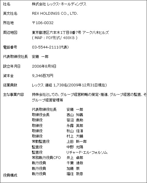http://www.rex-holdings.co.jp/corporate/profile.html