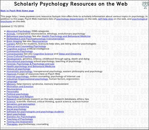 http://www.psywww.com/resource/bytopic.htm