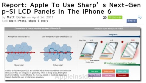 http://www.crunchgear.com/2011/04/26/report-apple-to-use-sharps-next-gen-p-si-lcd-panels-in-the-iphone-6/