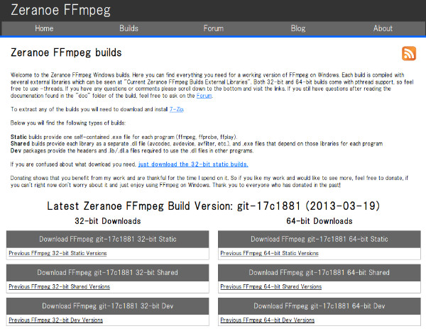 http://ffmpeg.zeranoe.com/builds/
