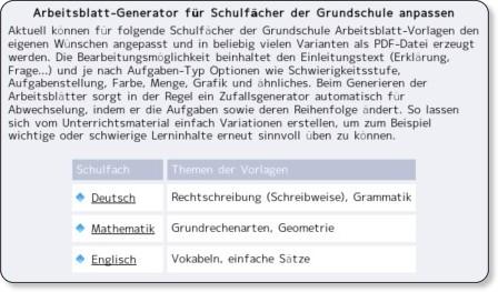 http://www.grundschulstoff.de/arbeitsblatt-generator/schulfaecher.html