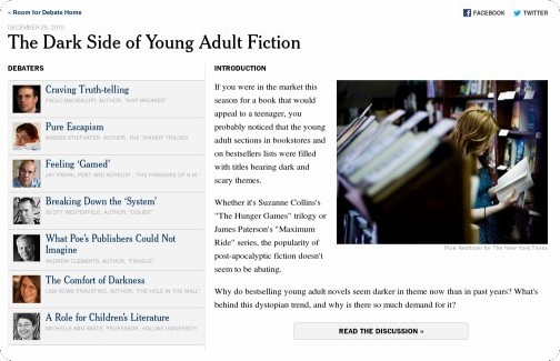 http://www.nytimes.com/roomfordebate/2010/12/26/the-dark-side-of-young-adult-fiction