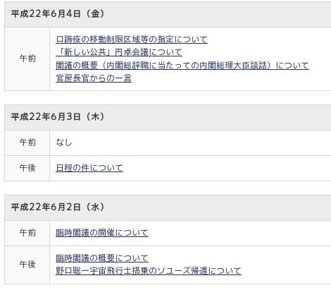 http://www.kantei.go.jp/jp/tyoukanpress/index.html