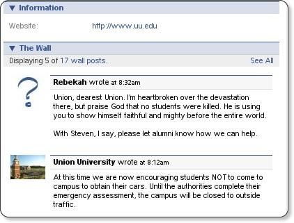 http://www.facebook.com/pages/Jackson-TN/Union-University/6260029059