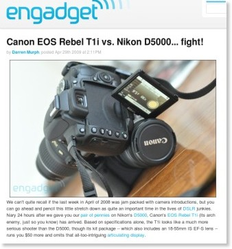 http://www.engadget.com/2009/04/29/canon-eos-rebel-t1i-vs-nikon-d5000-fight/