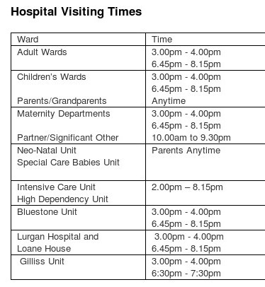 Report writing service hospital visiting hours