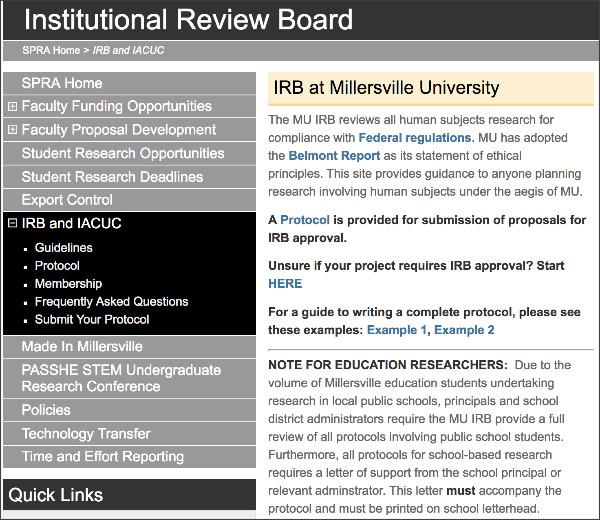 http://www.millersville.edu/spra/irb/index.php